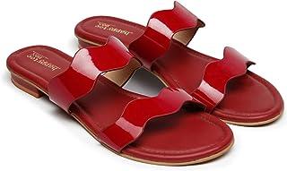 Happytoebox women's oxford blue gloss twin wave scalloped flats/women fashion sandals