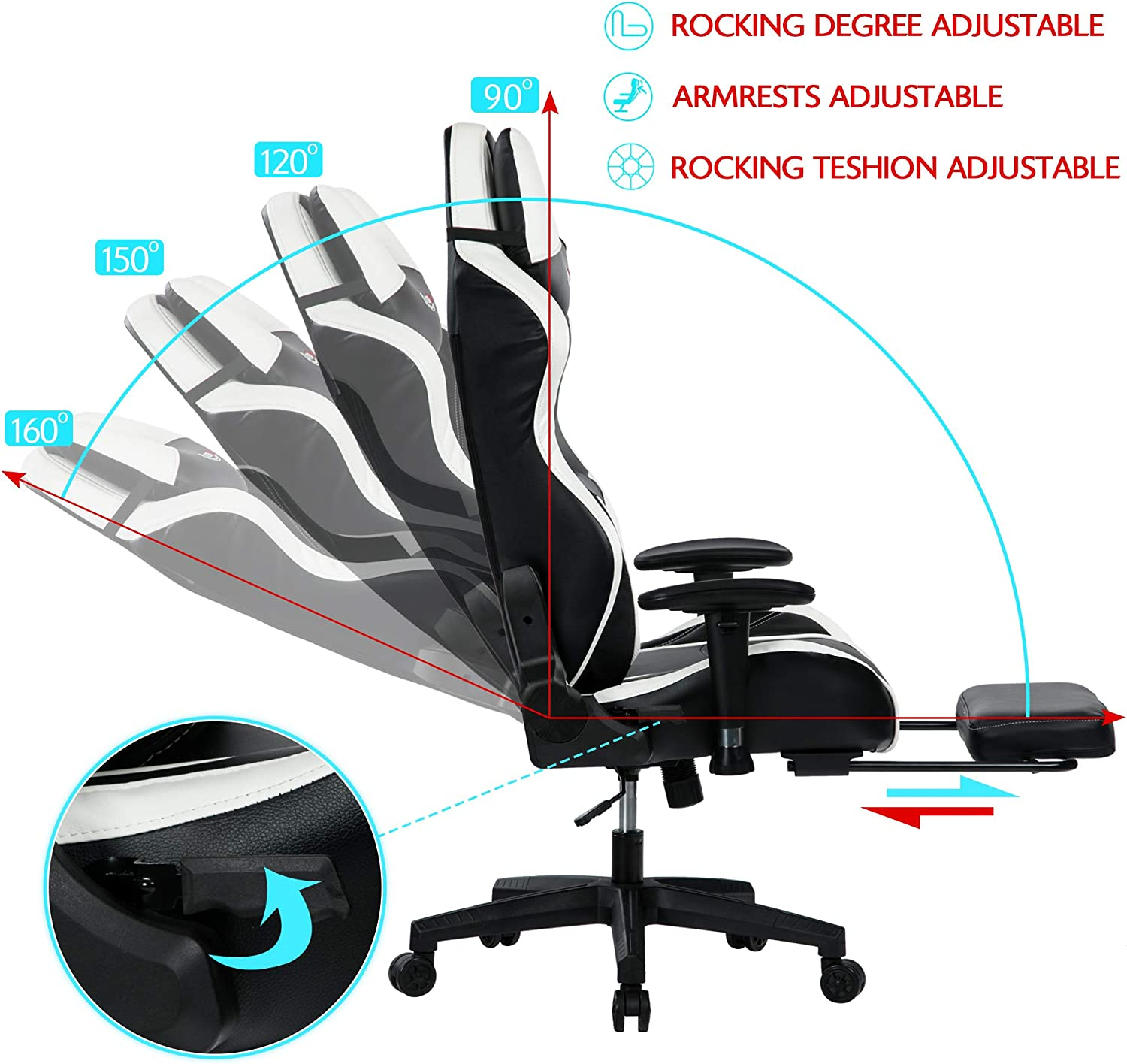 Black-8523 Kasorix Big and Tall Gaming Chair with Footrest,Black Chair with Adjustment Armrest,High Back Gamer Chair Up to 400 Pounds