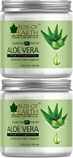 Bliss of earth® 99% Pure Crystal Clear Aloe Vera Gel | PACK OF 2X200GM | Great For Face, Body & Hair | Effective Cooling, ...