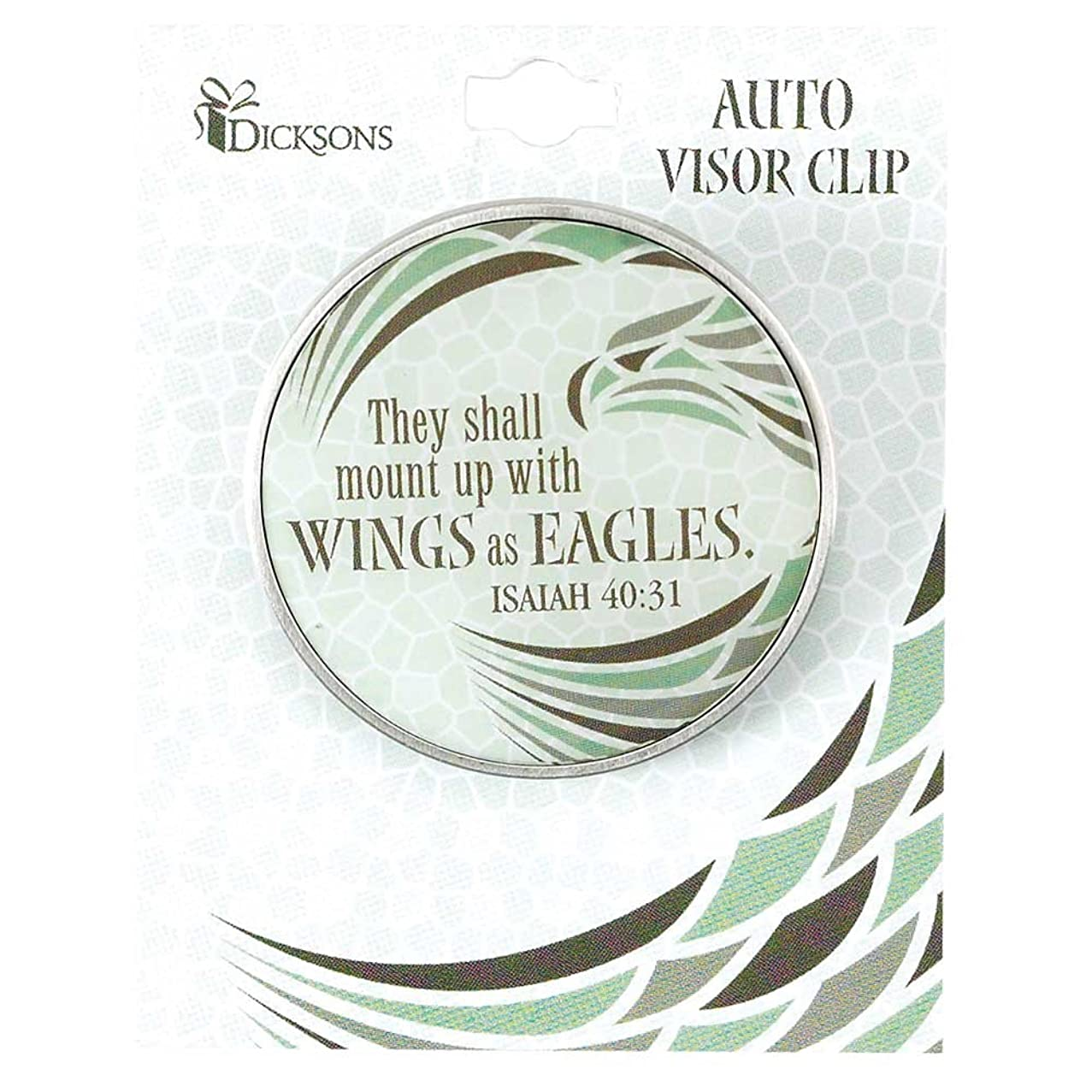 Wings as Eagles Isaiah 40:31 Scripture Christian Metal Car Auto Visor Clip