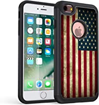 iPhone 6s Case,iPhone 6 Case,Rossy Retro Vintage Old USA American Flag Design Shock-Absorption Hard PC Soft Silicone Dual Layer Hybrid Armor Defender Protective Case Cover for Apple iPhone 6/6s Inch