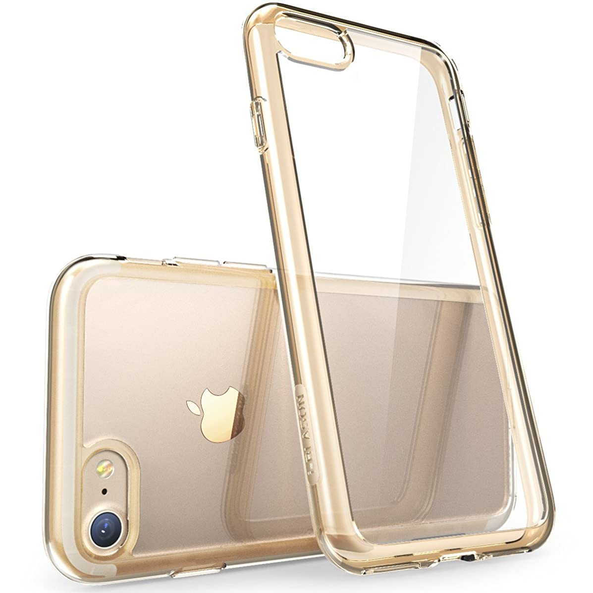 iPhone 7 Case, iPhone 8 Case [Scratch Resistant] i-Blason Clear [Halo Series] for Apple iPhone 7/Apple iPhone 7 Cover (Clear/Gold)