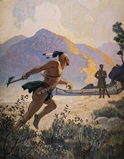 Cooper Deerslayer 1925 Nthe Native American With His Tomahawk Charges Deerslayer [Natty Bumppo] Illustration By NC Wyeth T...