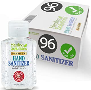 Hand Sanitizer Gel (96 Pack - 2oz Bottle) - 75% Alcohol - Kills 99.99% of Germs - Unscented Antibacterial Gel with Vitamin E & Aloe for Moisturizing in Mini 2 Ounce Bottles