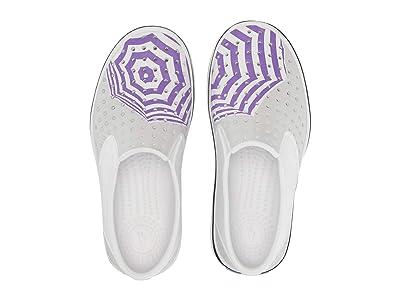 Native Kids Shoes Miles Print (Little Kid) (Shell White/Shell White/Mist Grey/Techno Umbrella) Girls Shoes