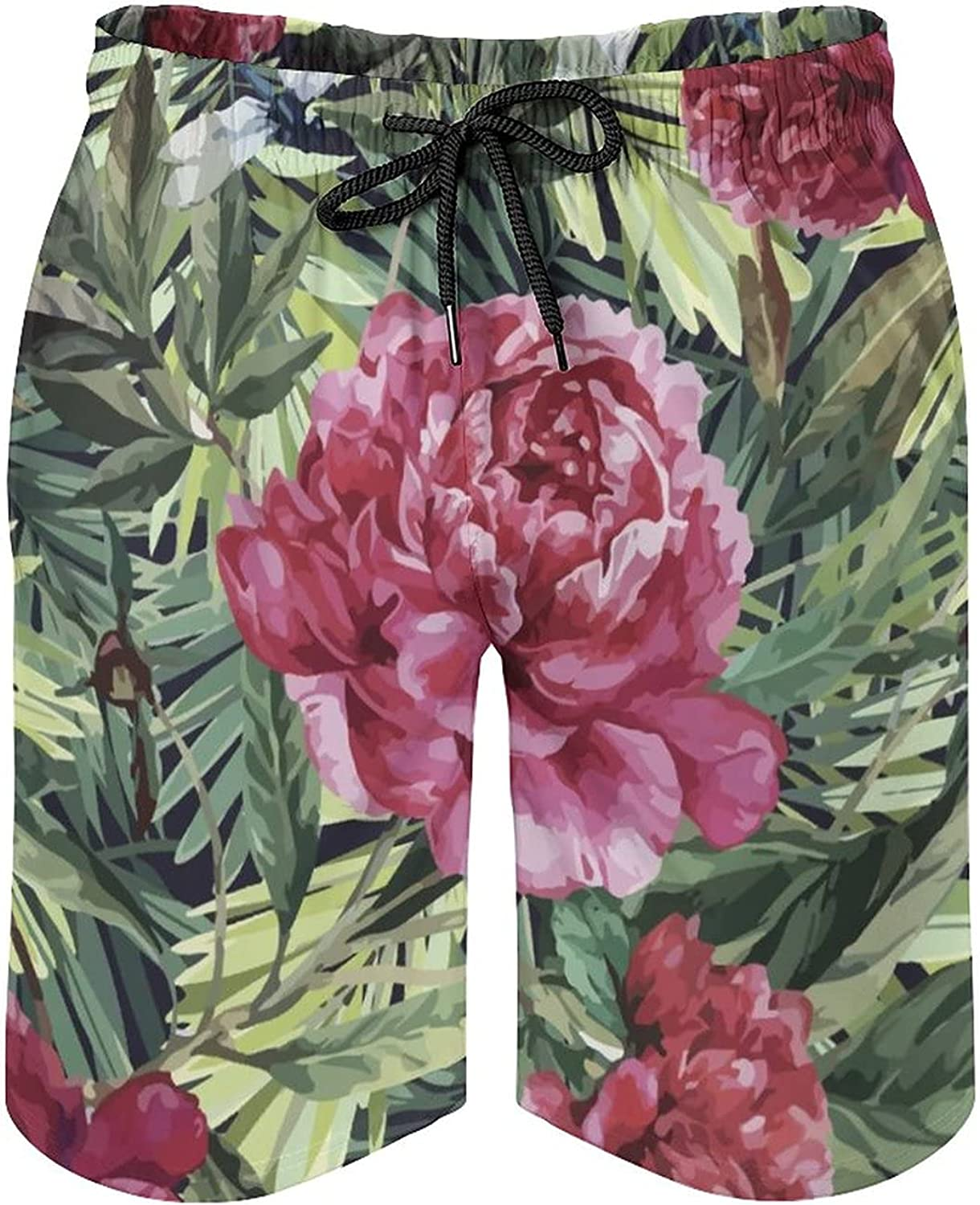 by Unbranded Men's Drawstring Summer Board Shorts with Elastic Waist Flower Pattern
