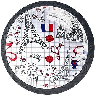 Paris Architecture Buildings - Juego de 4 pomos redondos de plástico ABS para cajones sin acabar tiradores de armario a...