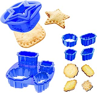 Yumkt 7 PCs Sandwich Sealer Cookies Cutters Set Square Star Flower Frame Biscuit Cutters for Kids Boys Girs, Blue