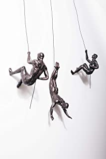 3x Large Bronze Climbing Abseiling Trio Hanging Ornaments Figures Set of 3 Climbing Men Wallhanging Figurines Abseiling Or...