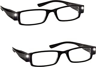 The Reading Glasses Company 2 Pack Illuminated LED Night Time Light Readers Mens Womens Black LL1-1 +1.50