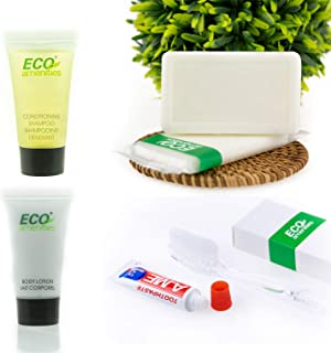 ECO Amenities Hotel Soap, Body Lotion, Mini Size Shampoo and Conditioner and Disposable Toothbrush with Toothpaste 4-Piece Hotel Toiletries in Travel Size for Guest, 15 Pack
