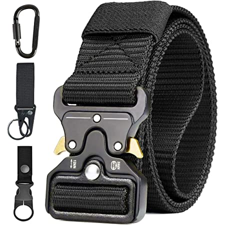 Men Tactical Belt, Military Style Heavy Duty Nylon Canvas Waist Belts with Quick-Release Metal Buckle For Hunting Training Army Running [ 3 Hook ]125 * 3.8 CM (L*W)