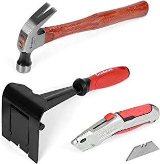 Goldblatt Trim Puller, Removal Multi-Tool & Heavy Duty Retractable Utility Knife & Claw Hammer with Hickory Handle for Bas...