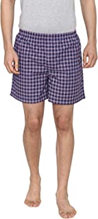 Men Classic Check -Prints Woven Boxer Shorts - Navy