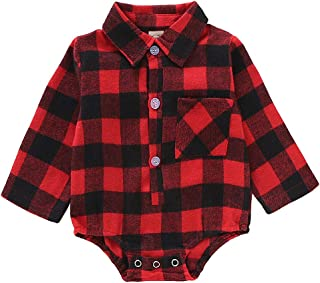 Christmas Baby Romper, Infant Boys Girls Red Plaid Long Sleeve Jumpsuit Newborn Deer Onesies Winter Clothes