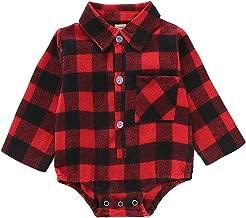 Christmas Baby Romper, Infant Boys Girls Red Plaid Long Sleeve Jumpsuit Newborn Deer Onesies Winter Clothes