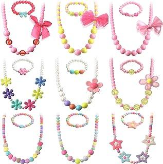 18 Pièces Collier et Bracelet de Perles Colliers de Jeu Colorés Enfants Perles Bijoux de Princesse Enfants Déguisement de ...