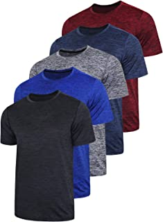 5 Pack Men�s Active Quick Dry Crew Neck T Shirts | Athletic Running Gym Workout Short Sleeve Tee Tops Bulk