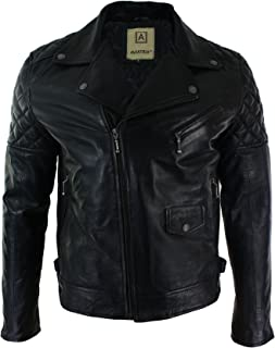 c4a1a78c7c2e9f Giacca Biker Nera da Uomo in Vera Pelle con Zip Laterale Chiodo Casual  Vintage nero