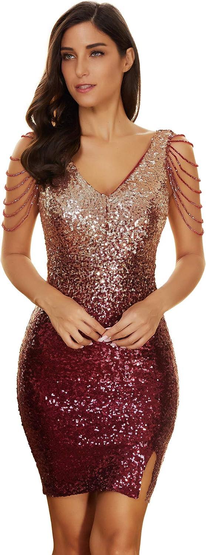 meilun Women's Sequins Bead Glitter Club Party Bodycon Mini Dress