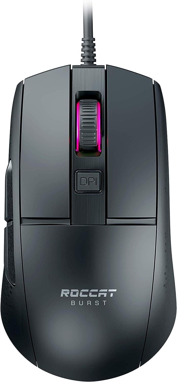 Roccat Burst - Ratón óptico para videojuegos (muy ligero, alta precisión, sensor óptico, 8500 ppp, 68 g, diseño en Alemania), color negro