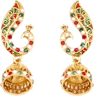 Indian Bollywood enameled/crystals peacock jewelry earrings in antique gold tone for women