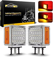 Partsam 2X Square Double Face LED Pedestal Light Cab Fender Turn Signal Light for Truck Towing Trailer,Dual Face LED Stop Turn Tail Parking Light Replacement for Peterbilt/Freightliner/Kenworth/Volvo