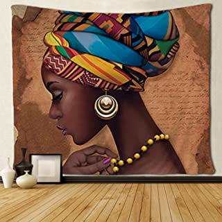 SARA NELL Tapestry Art Girls Traditional African Women Black Tapestries Wall Art Hippie Bedroom Living Room Dorm Wall Hanging Throw Tablecloth Bedspread(50