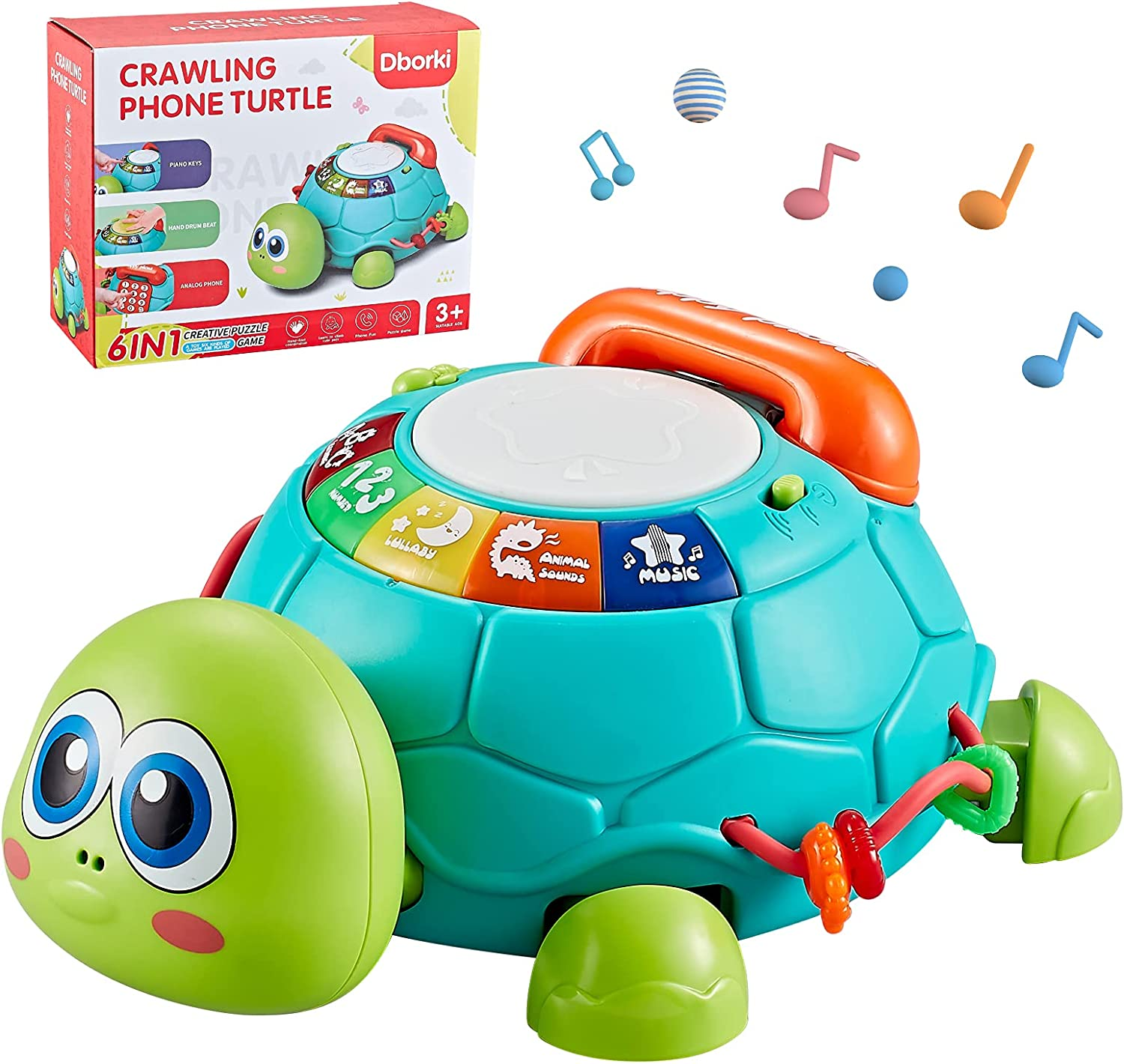 Bu-buildup Musical Turtle Toy, Baby Crawling Toys with Music and LED Lights, Toys to Encourage Crawling, Baby Toy with Music and LED Lights for Boys & Girl 6 Months+