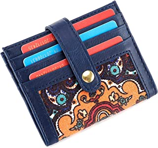 Women's Credit Card Holder Case Front Pocket Bifold Multi-Slot Wallet with Snap Button Closure