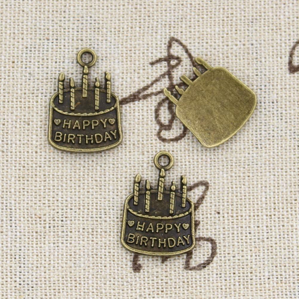 NING456 15pcs Charms Torta di Compleanno 18x15mm Bronzo Antico Argento Colore Pendenti Fare FAI DA TE Handmade Tibetano Bronzo Argento Colore Gioielli
