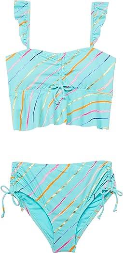 Rip Tide Stripe Flounce Bandeau Midkini and High-Waist Bottoms  (Big Kid)