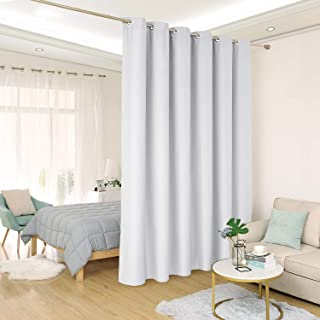 Deconovo Privacy Room Divider Curtain Grommet Thermal Insulated Screen Partition Room Darkening Panel Curtains for Shared Bedroom, 10ft Wide x 8ft Tall 1 Panel Greyish White