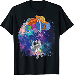 Funny Astronaut with planet balloons in Outer Space Design T-Shirt