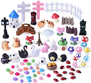 KUUQA Miniature Fairy Garden Ornaments Kit for Fairy Garden Décor