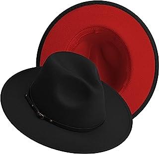 قبعات فيدورا ذات درجتين واسعتين من اللباد الكلاسيكي قبعة بنما مع مشبك حزام للنساء والرجال