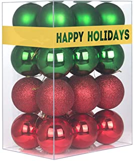 """Best 24Pcs Christmas Balls Ornaments for Xmas Tree - Shatterproof Christmas Tree Decorations Large Hanging Ball Red & Green 3.2"""" x 24 Pack Review"""