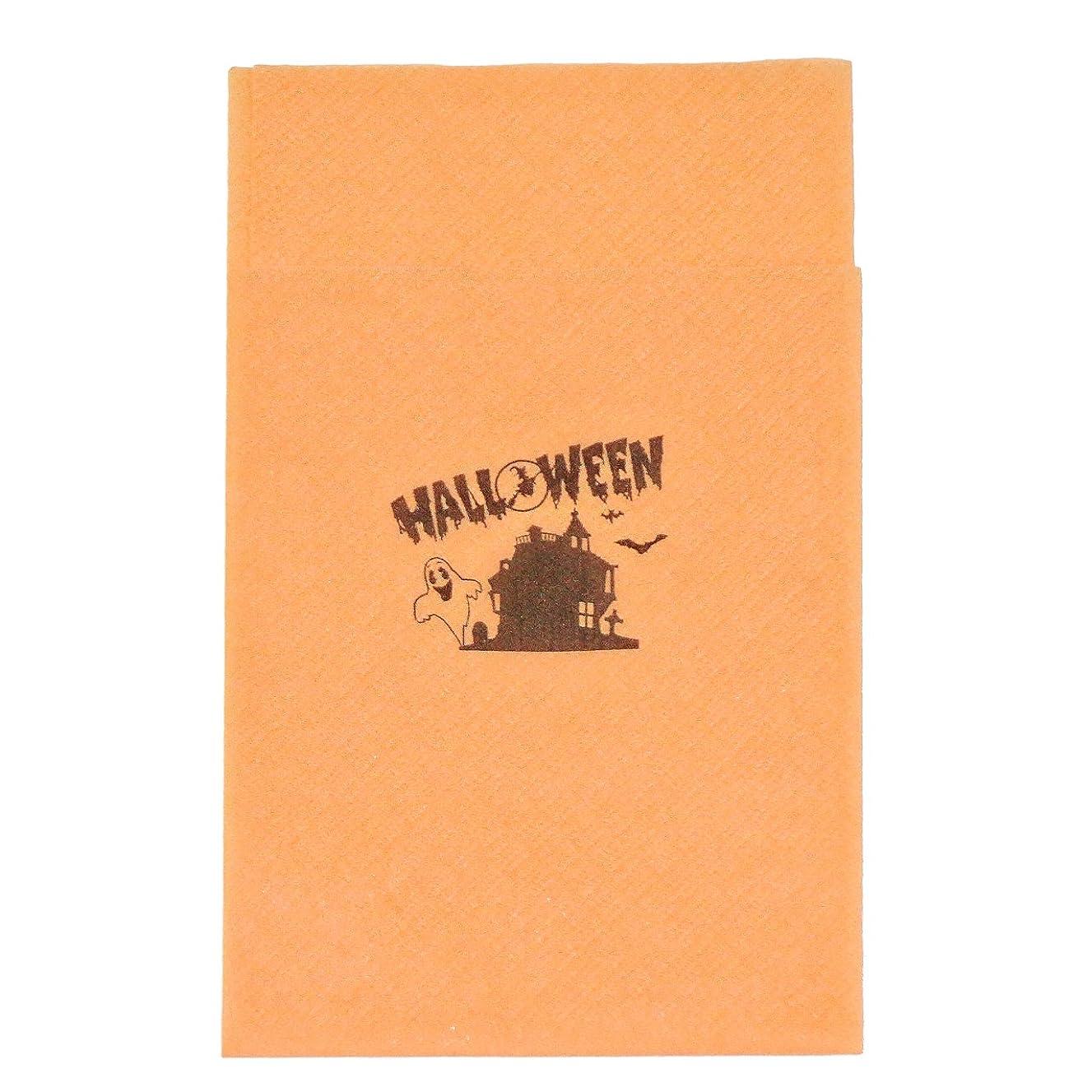 発症絵大佐6面折り ペーパーナプキン オレンジ ハロウィン 300枚入り