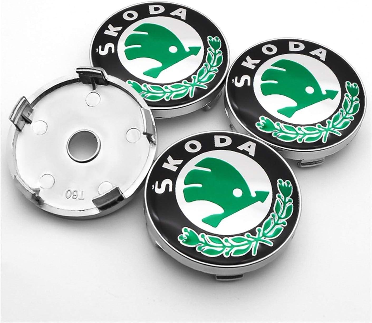 Without Argent ou Vert 56mm 4PCS et 60mm ABS Couvercle du Centre de la Roue en Aluminium de Plastique adapt/é for Skoda- GICTI Color : H Badge et Couvercle de moyeu