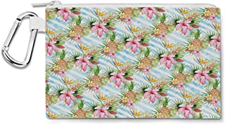 Aloha Pineapple Stripes Canvas Zip Pouch - Multi Purpose Pencil Case Bag