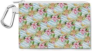 Aloha Pineapple Stripes Canvas Zip Pouch - Multi Purpose Pencil Case Bag