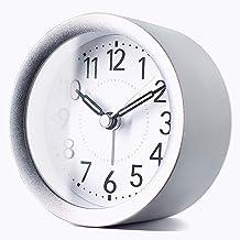 ساعة منبه معدنية مستديرة مقاس 10.16 سم من TXL مزودة بإضاءة خلفية، وأيدي مضيئة هادئة، وساعة مكتب ورف للمطبخ المكتبي، أسود ل...