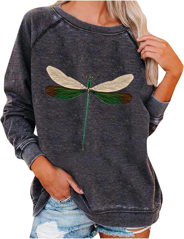 VEKDONE Womens Graphic Dragonfly Print Sweatshirts Crewneck Long Sleeve Pullover Tops Loose Tunic Shirts Blouse