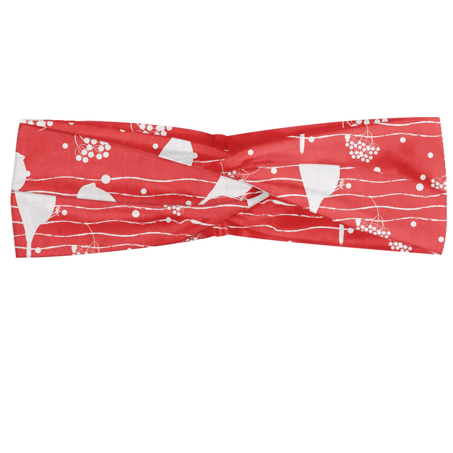 Ambesonne Birds Headband, Bullfinch Silhouettes Sitting on Tree Branches with Forest Berry Illustration, Elastic and Soft Women's Bandana for Sports and Everyday Use, Dark Coral White