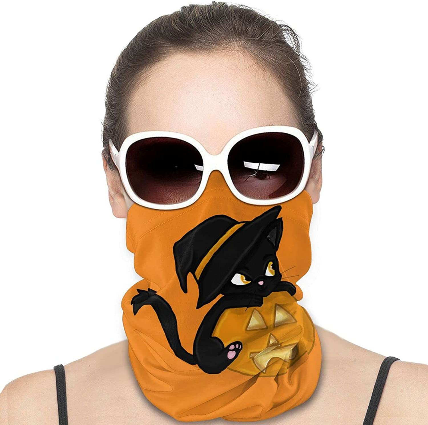 Black Cat with Pumpkin Round Neck Gaiter Bandnas Face Cover Uv Protection Prevent bask in Ice Scarf Headbands Perfect for Motorcycle Cycling Running Festival Raves Outdoors