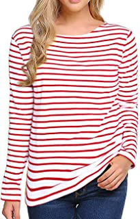 Women's Long Sleeve/Short Sleeve Striped T-Shirt Tee Shirt Tops Slim Fit Blouses