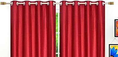 Fresh From Loom Embossed Eyelets 7 ft Polyester Door Curtain (Maroon)