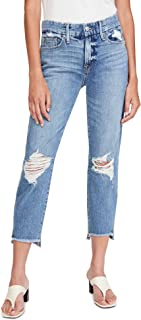 Good American Women's Good Girlfriend Jeans with Side Step Hem