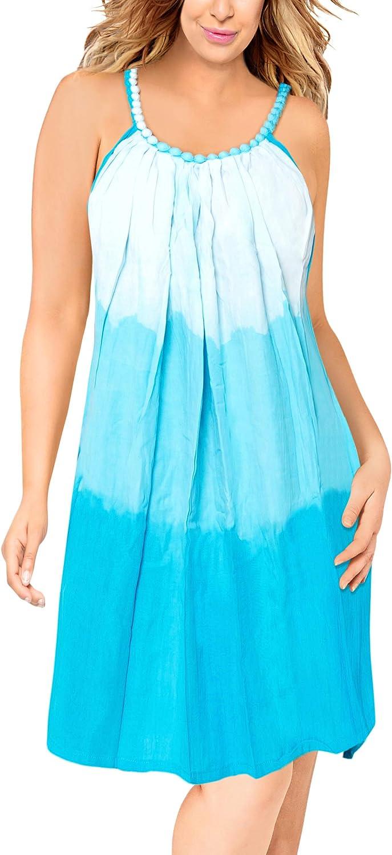 La Leela Everyday Essentials Caftan Tunic Tank Summer Beach Dress Swim Cover Up Y