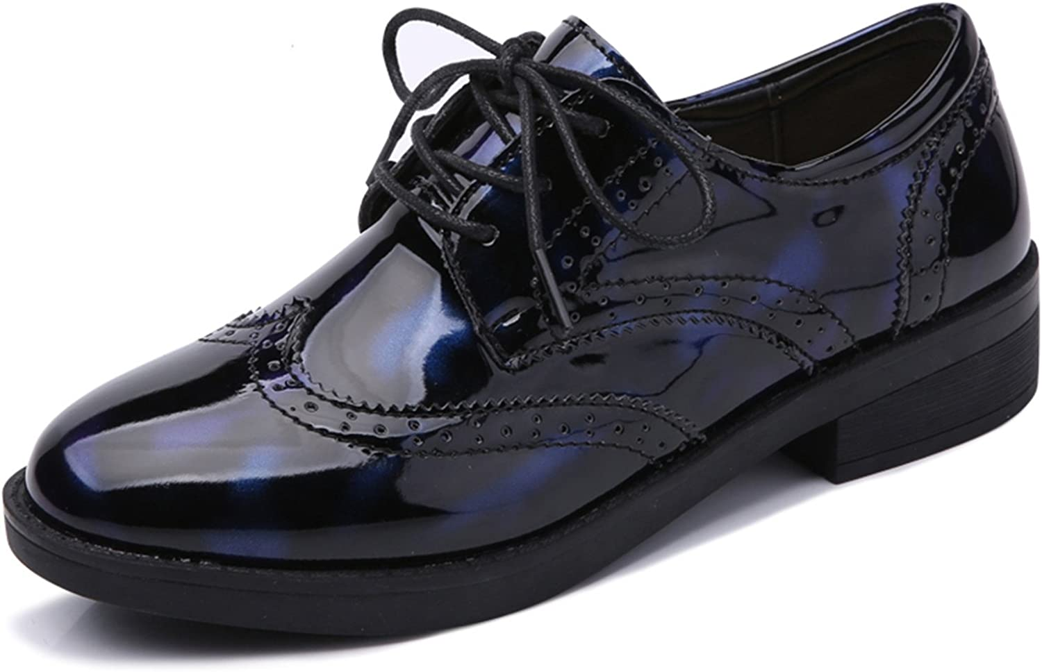 Mandaartins Women Oxford shoes Leather Glossy shoes Carved Lace-up Flat shoes